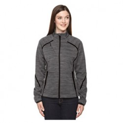 LADIES' MELANGE BONDED FLEECE JACKET WITH MELLING LOGO EMBROIDERED