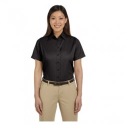 LADIES' SHORT SLEEVE TWILL SHIRT WITH MELLING LOGO
